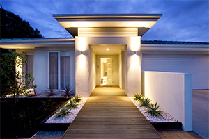 Grand entrance to a contemporary home in Sale