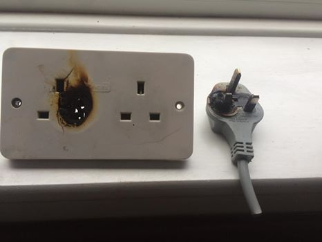 burnt plug and socket